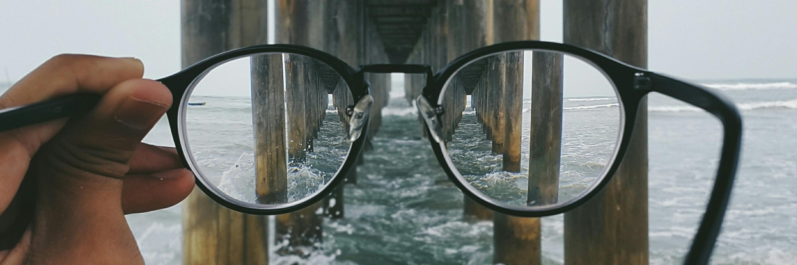 Looking through glass lenses at the underside of a dock in water